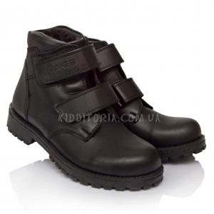 Ботинки школьные из черной кожи на двух липучках (Арт.2290)