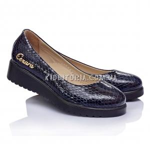 Туфли из синей лакированной кожи на платформе (Арт.045-1)