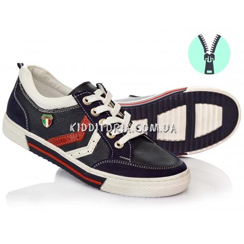 Кожаные кроссовки на шнурках и молнии (Арт.10-177)