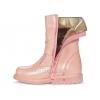 Ботинки зимние из розовой перламутровой кожи (Арт.1100)