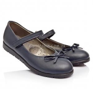 Туфли школьные для девочки темно-синего цвета (Артикул 1222)