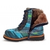 Ботинки зимние синего цвета (Арт.144-1) на шнурках и молнии