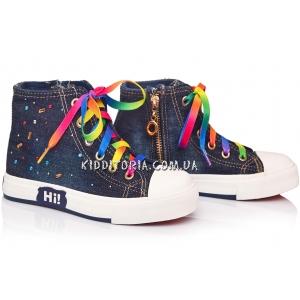 Кеды джинсовые с разноцветными стразами на шнурках и молнии (Арт.1972)