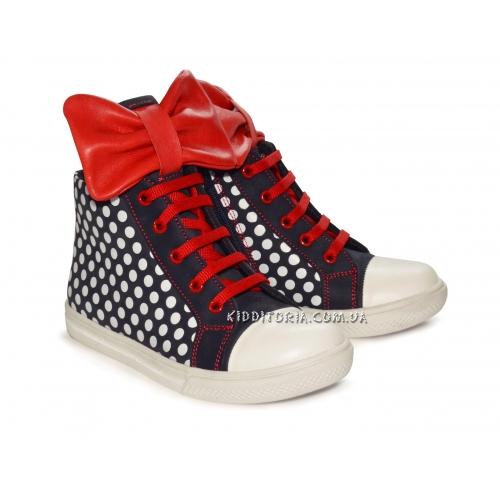 Кроссовки с ярко-красным бантом на шнурках и молнии (Арт.2094)