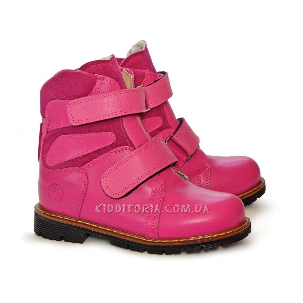Ботинки зимние Tofino из ярко-розовой кожи на двух липучках (Арт.210-04)