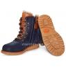 Ботинки зимние синего цвета с коричневыми шнурками (Арт.02295) на шнурках и молнии