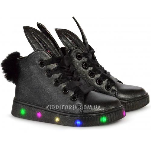 Ботинки на светящейся подошве (Арт.1777) на шнурках и молнии