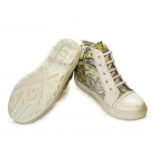 Ботинки-кеды белые на шнурках и молнии (Арт. 4889)