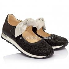 Туфли  черные со съёмным бантиком (Артикул 777-01)