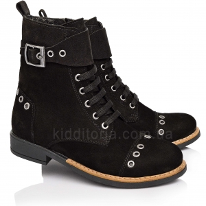 Стильные высокие ботинки из черного нубука (Артикул 1789-01)