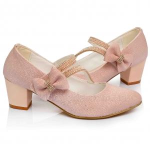 Туфли на каблуке нежно-розового цвета (Артикул 02-152)