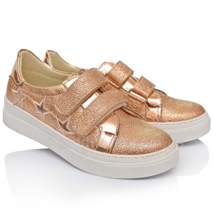 Модные золотистые кроссовки-криперы для девочек (Артикул 47-511)