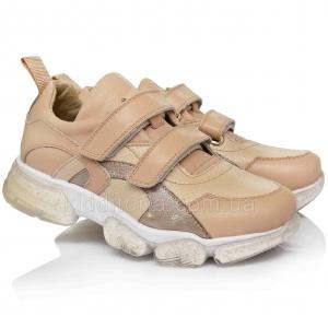 Модные бежевые кроссовки для девочек (Артикул 07-125)