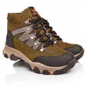Ботинки из натурального нубука цвета хаки (Артикул 5143)