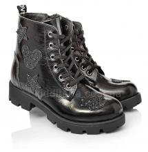 Утеплені черевики з натуральної лакованої шкіри (Артикул 5064-02)