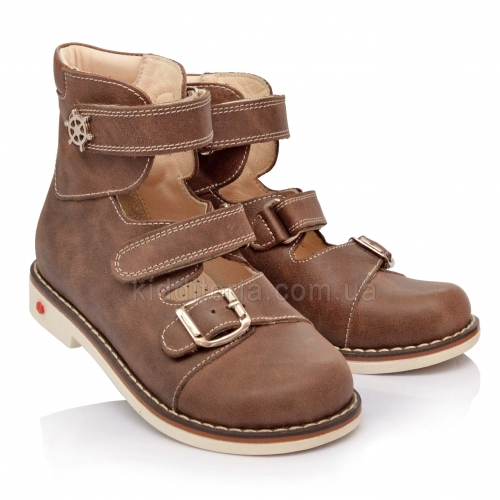 Туфли ортопедические серо-бежевого цвета