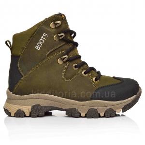 Утепленные ботинки цвета хаки для мальчика (Артикул 7587)