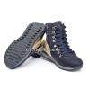 Ботинки чернильно-синего цвета с золотистыми вставками (Арт.2342) на шнурках и молнии