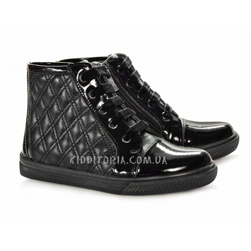Кеды кожаные черного цвета (Арт.4401-1) на шнурках и молнии