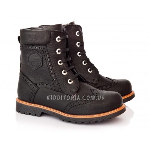 Ботинки зимние из черной кожи на шнурках и молнии