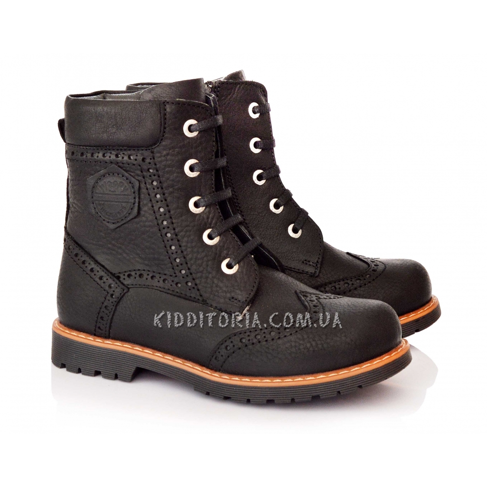 Ботинки зимние из черной кожи на шнурках и молнии (Арт.0571-1)